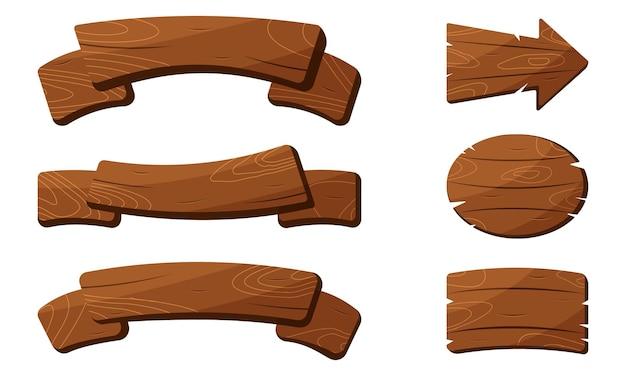 Conjunto de ilustração vintage de prancha de madeira marrom
