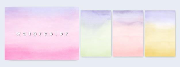 Conjunto de ilustrações abstratas design gradientes de aquarela coloridos brilhantes pintados à mão