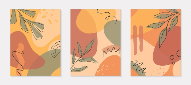 Conjunto de ilustrações artísticas modernas com formas orgânicas, folhas, elementos gráficos.