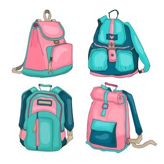Conjunto de ilustrações brilhantes de mochilas