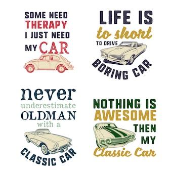 Conjunto de ilustrações clássicas de citações de carros