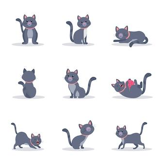 Conjunto de ilustrações coloridas de gatos fofos e cinzentos
