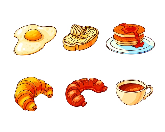 Conjunto de ilustrações coloridas de mão desenhada café da manhã