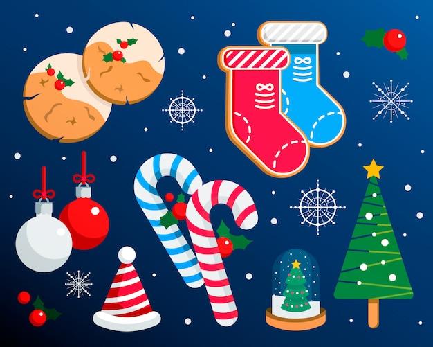 Conjunto de ilustrações coloridas de natal, símbolos de celebração