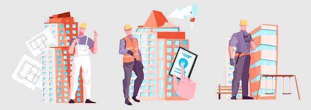 Conjunto de ilustrações coloridas de novos edifícios