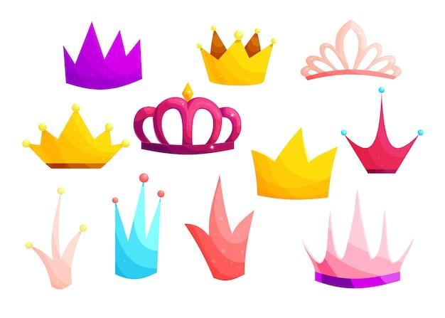 Conjunto de ilustrações coloridas dos desenhos animados de coroas medievais.