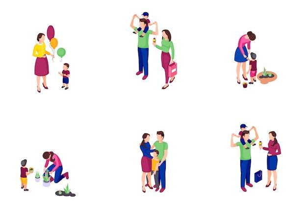 Conjunto de ilustrações coloridas isométrica em tempo de família