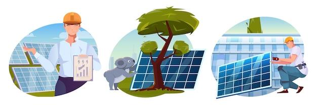 Conjunto de ilustrações com fazenda solar e funcionários