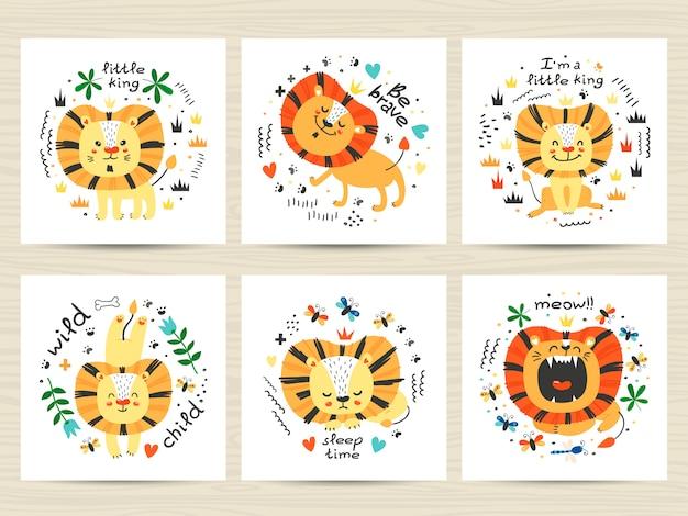 Conjunto de ilustrações com giros leões e inscrições
