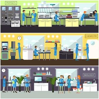 Conjunto de ilustrações com laboratórios de pesquisa científica e cientistas