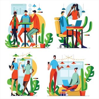 Conjunto de ilustrações com pessoas de negócios reunidos em coworking com design plano