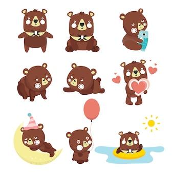 Conjunto de ilustrações com ursos. poses diferentes.