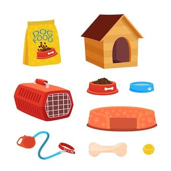 Conjunto de ilustrações de acessórios para cães