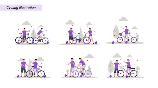 Conjunto de ilustrações de alguém andando de bicicleta no parque pela manhã com o amigo