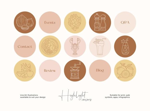Conjunto de ilustrações de alimentos e bebidas de arte de linha desenhada à mão para capas de destaque de mídia social