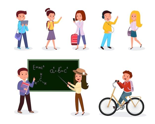 Conjunto de ilustrações de alunos e professores de escola