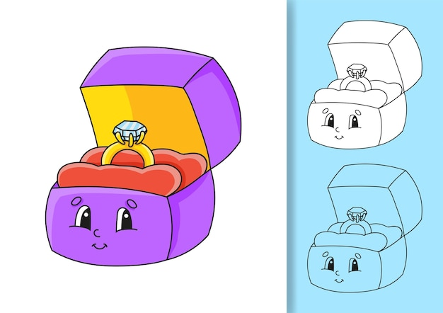 Conjunto de ilustrações de anel isolado.