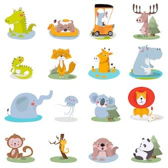 Conjunto de ilustrações de animais fofos. zoológico divertido