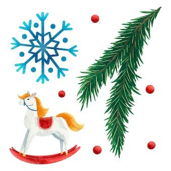 Conjunto de ilustrações de ano novo, galho de árvore de natal, floco de neve, lantejoulas cavalo, árvore de natal, brinquedo