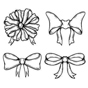 Conjunto de ilustrações de arco em fundo branco. elementos para cartaz, cartão, emblema, sinal. decoração vintage para festas tradicionais e caixas de presente. ilustração