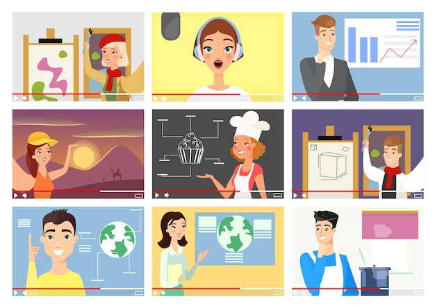 Conjunto de ilustrações de blogueiros influencers vloggers personagens de desenhos animados