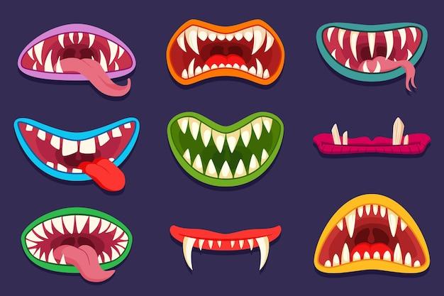 Conjunto de ilustrações de bocas de personagens de monstros de desenhos animados