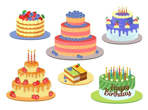 Conjunto de ilustrações de bolos de aniversário elegantes e diferentes