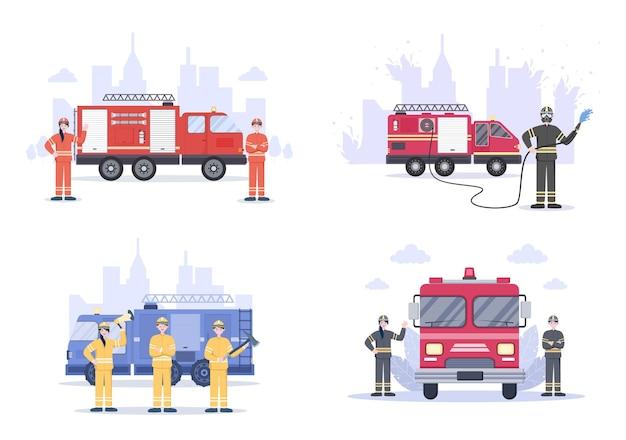 Conjunto de ilustrações de bombeiros com motores de incêndio