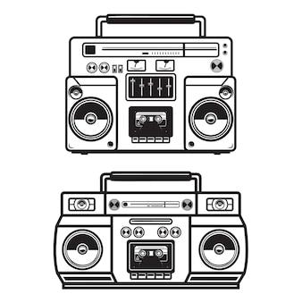 Conjunto de ilustrações de boombox em fundo branco. .