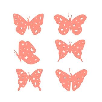 Conjunto de ilustrações de borboletas celestiais e místicas com lua e estrelas