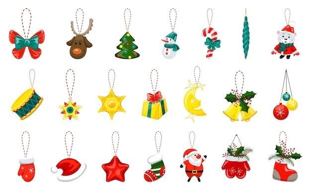 Conjunto de ilustrações de brinquedos de árvore de natal. desenho animado
