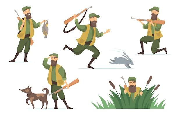 Conjunto de ilustrações de caçador