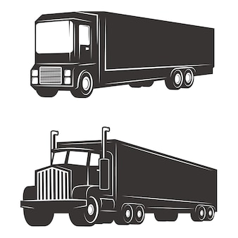 Conjunto de ilustrações de caminhão de carga no fundo branco. elementos para o logotipo, etiqueta, emblema, sinal, marca.