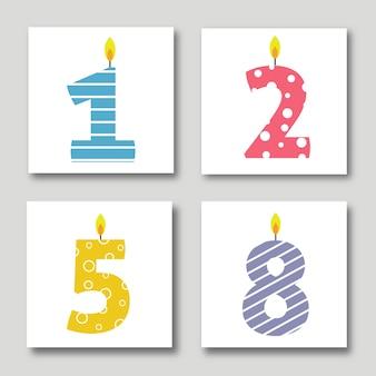 Conjunto de ilustrações de cartões de aniversário de vetor