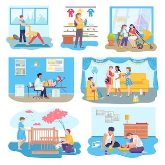 Conjunto de ilustrações de cenas de gravidez e maternidade. mulher grávida realizando atividades diárias, médico visitante.