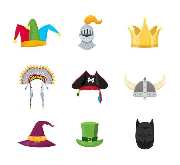 Conjunto de ilustrações de chapéus de máscaras