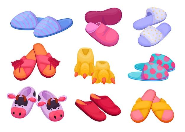Conjunto de ilustrações de chinelos diferentes para crianças e adultos