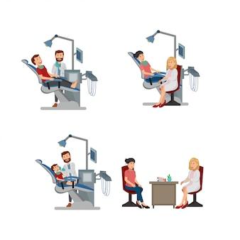 Conjunto de ilustrações de clínica dentária