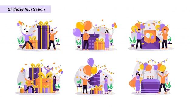 Conjunto de ilustrações de comemorações de aniversário festivo, usando chapéus carregando balões e presentes