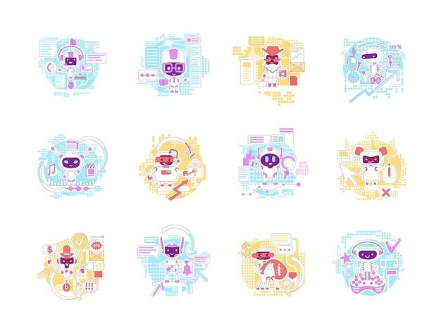 Conjunto de ilustrações de conceito de linha fina de bots bons e ruins. personagens de desenhos animados 2d de robôs de internet para web design. assistentes pessoais de ia. informações que roubam ideias criativas de software