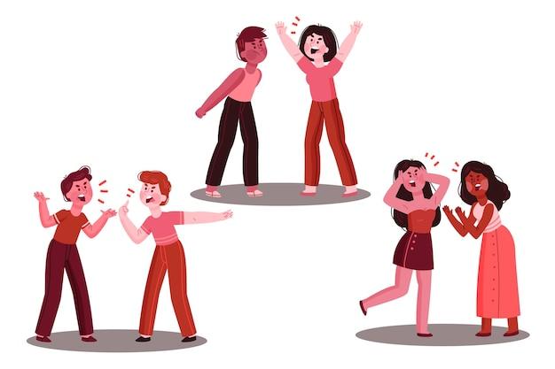 Conjunto de ilustrações de conflitos de casal