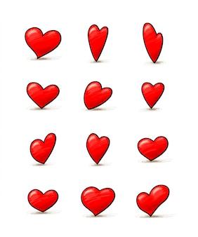 Conjunto de ilustrações de corações, pacote de ícones românticos abstratos diferentes. romance, dia dos namorados