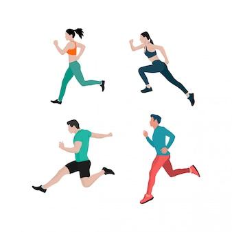 Conjunto de ilustrações de corredor masculino e feminino