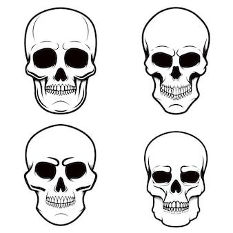 Conjunto de ilustrações de crânio em fundo branco.