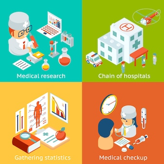 Conjunto de ilustrações de cuidados médicos.