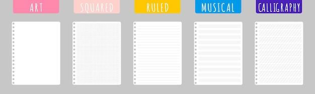 Conjunto de ilustrações de desenho vetorial com folhas de caderno limpas em fundo branco.