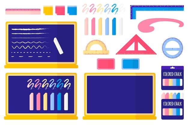 Conjunto de ilustrações de desenho vetorial com quadro negro escolar, giz colorido, esponja, adesivos, réguas em fundo branco.