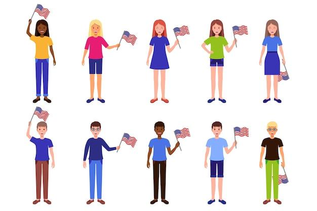 Conjunto de ilustrações de desenhos animados com homens e mulheres segurando a bandeira americana