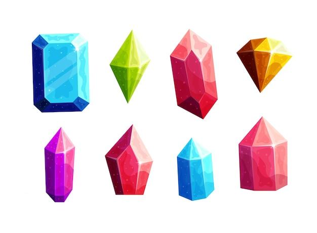 Conjunto de ilustrações de desenhos animados de cristais multicoloridos cintilantes.
