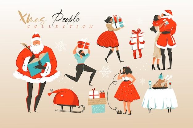 Conjunto de ilustrações de desenhos animados de feliz natal e feliz ano novo desenhado à mão